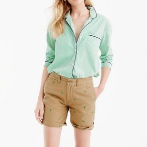 J. Crew Palm Tree Embroidered Chino Shorts